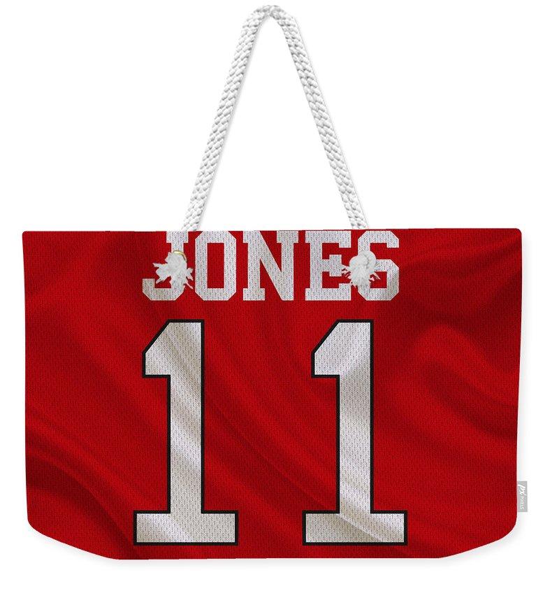 Falcons Weekender Tote Bag featuring the photograph Atlanta Falcons Julio Jones by Joe Hamilton