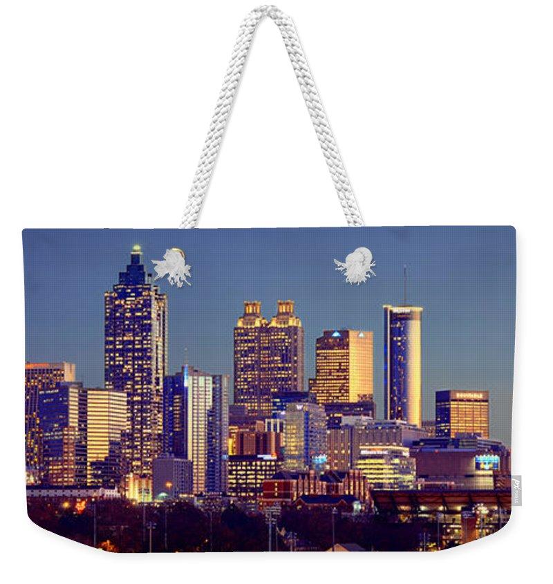 Atlanta Weekender Tote Bag featuring the photograph Atlanta Skyline At Dusk Downtown Color Panorama by Jon Holiday