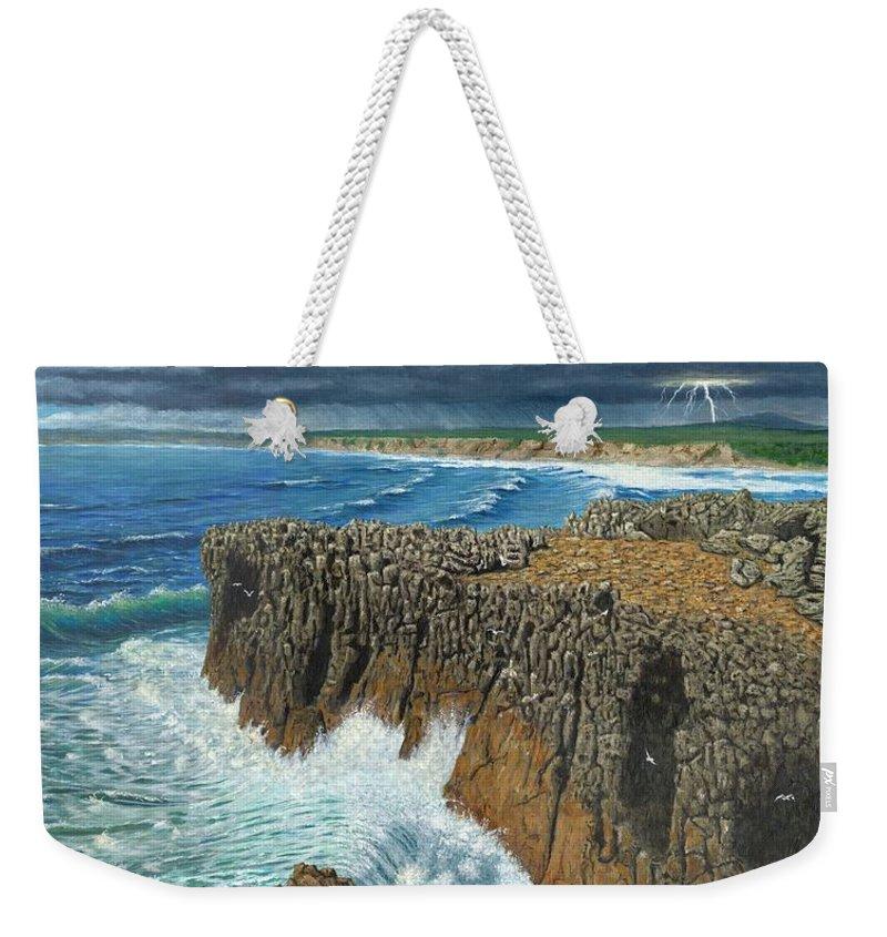 Landscapes Weekender Tote Bag featuring the painting Atlantic Breakers Pontal Portugal by Richard Harpum