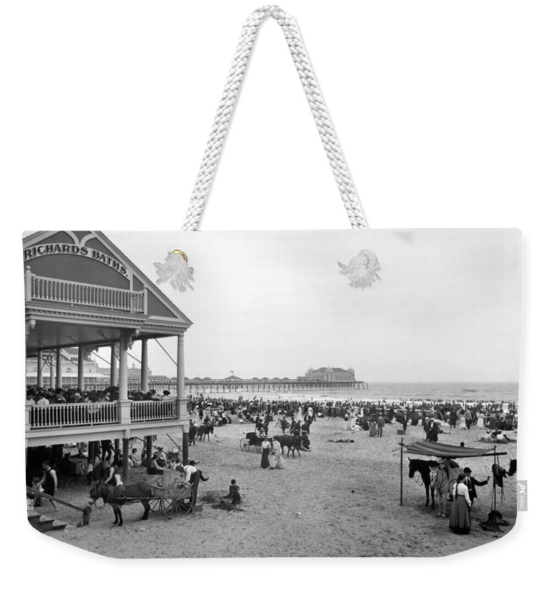 1890 Weekender Tote Bag featuring the photograph Atlantic City Beach, C1900 by Granger