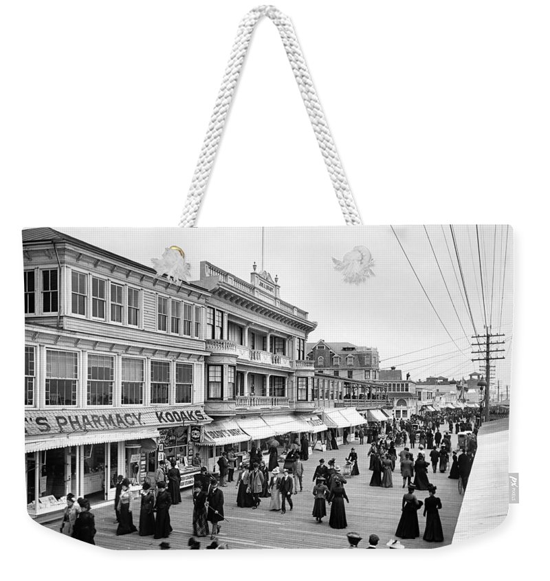 1890 Weekender Tote Bag featuring the photograph Atlantic City Boardwalk by Granger