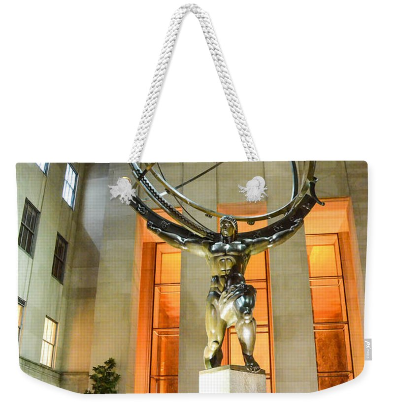 Atlas Statue Weekender Tote Bag featuring the photograph Atlas In Rockefeller Center by Guy Whiteley
