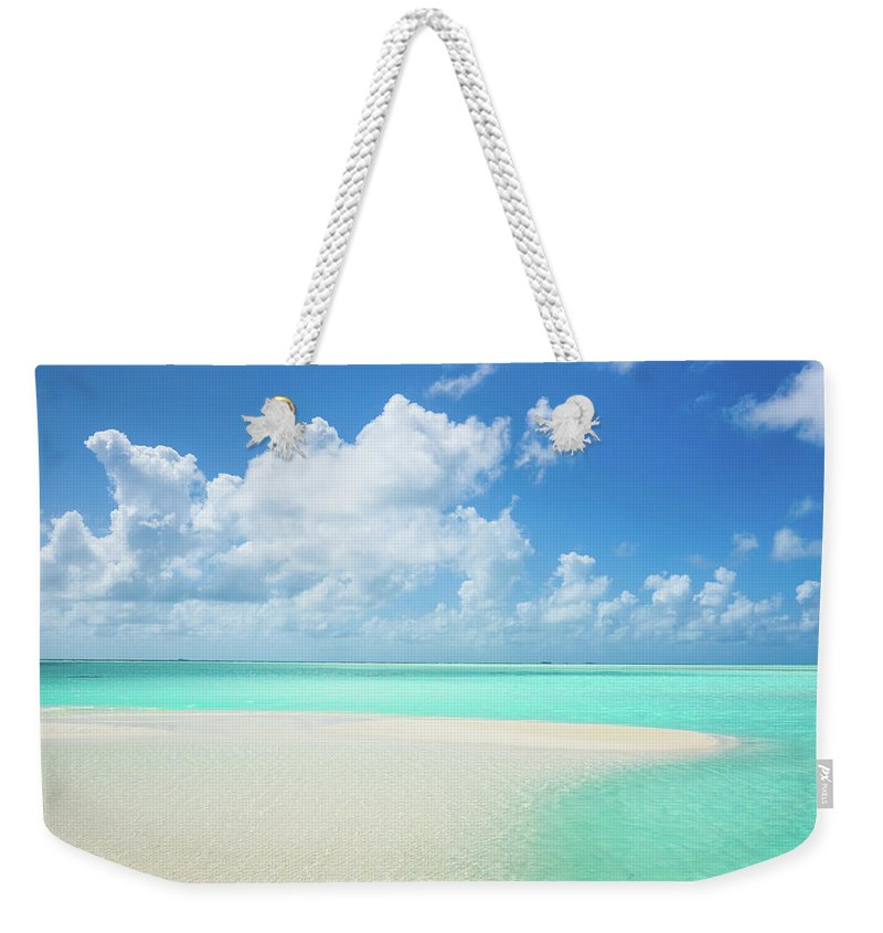 Seascape Weekender Tote Bag featuring the photograph Atoll Lagoon Sand Bank Turquoise Clear by Mlenny