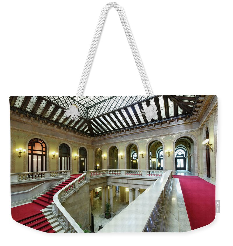 Ceiling Weekender Tote Bag featuring the photograph Atrium, Catalonia Parliament Building by Cultura Rm Exclusive/quim Roser