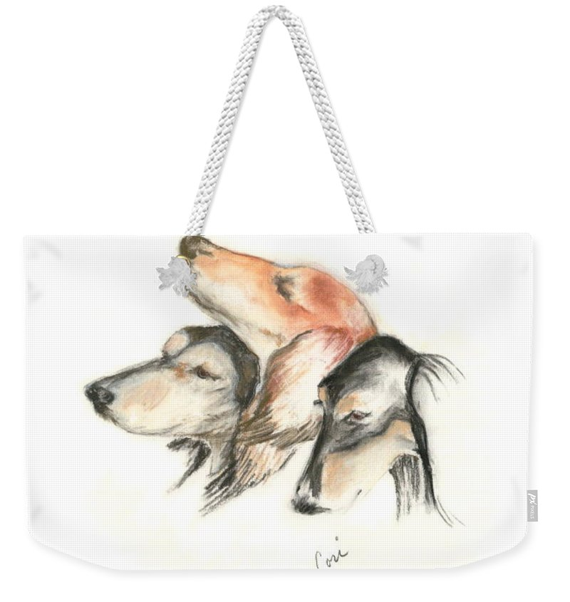 Dog Weekender Tote Bag featuring the drawing Attitude by Cori Solomon