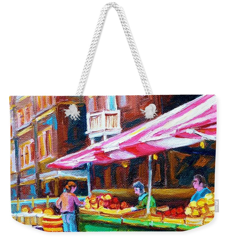 Atwater Market Weekender Tote Bag featuring the painting Atwater Market  by Carole Spandau