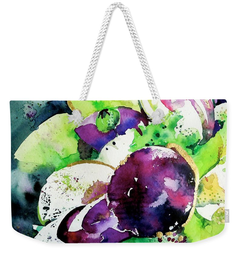 Aubergine Weekender Tote Bag featuring the painting Aubergine Mirage by Roleen Senic
