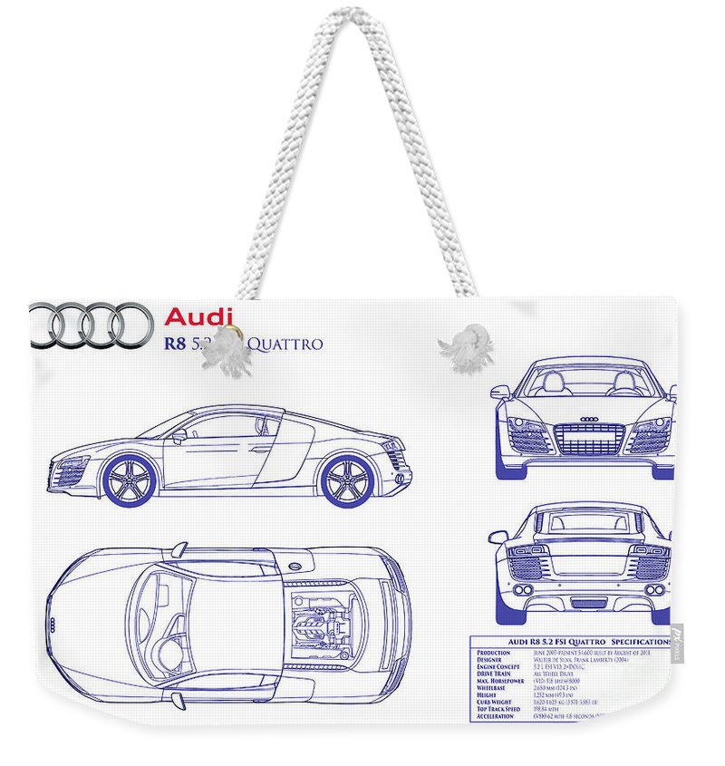 Audi r8 blueprint weekender tote bag for sale by jon neidert audi r8 blueprint weekender tote bag featuring the photograph audi r8 blueprint by jon neidert malvernweather Image collections