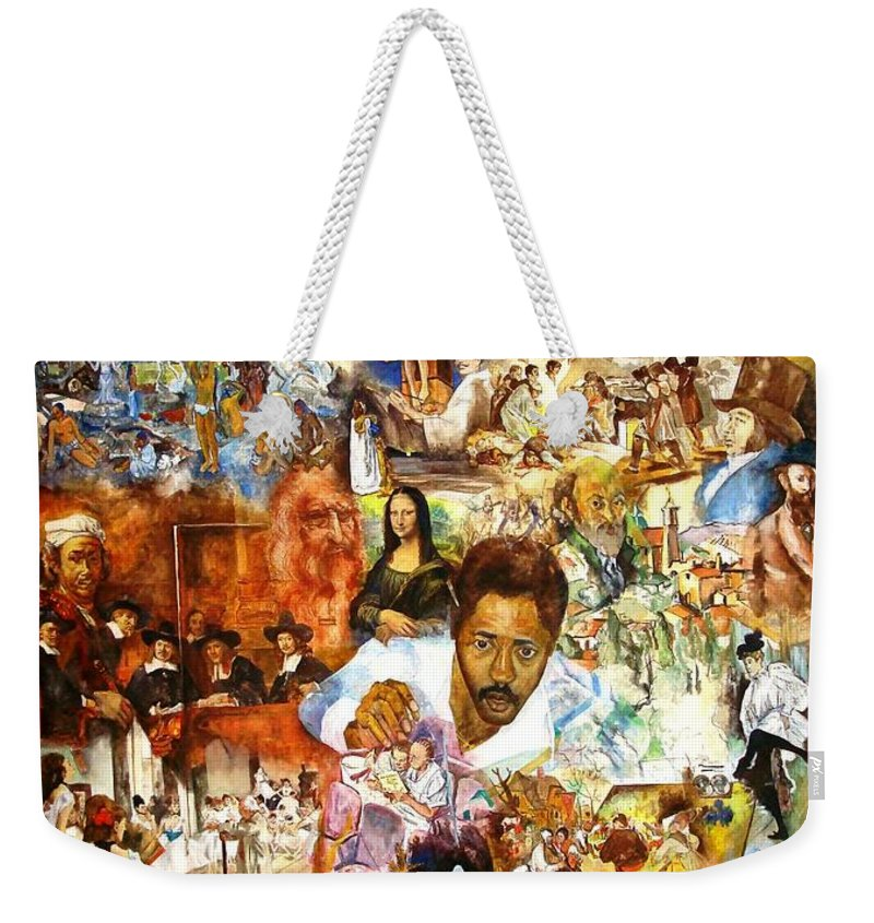 Genius Weekender Tote Bag featuring the painting Audience With The Geniuses Of Art by Charles M Williams