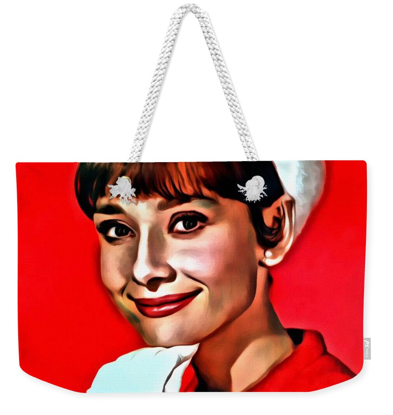 Celebrities Weekender Tote Bag featuring the painting Audrey by Florian Rodarte