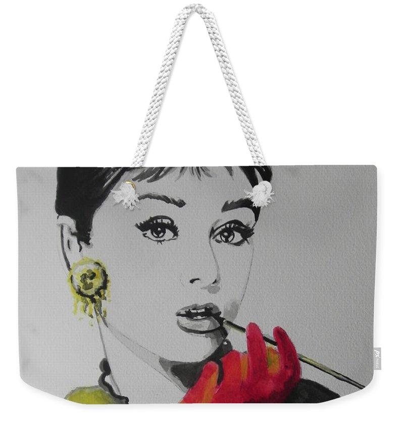 873fcd9eeb Watercolor Painting Weekender Tote Bag featuring the painting Audrey Hepburn  by Chrisann Ellis