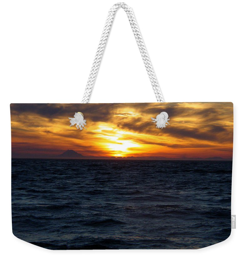 Alaska Weekender Tote Bag featuring the photograph Augustine Sleeps by Jeremy Rhoades