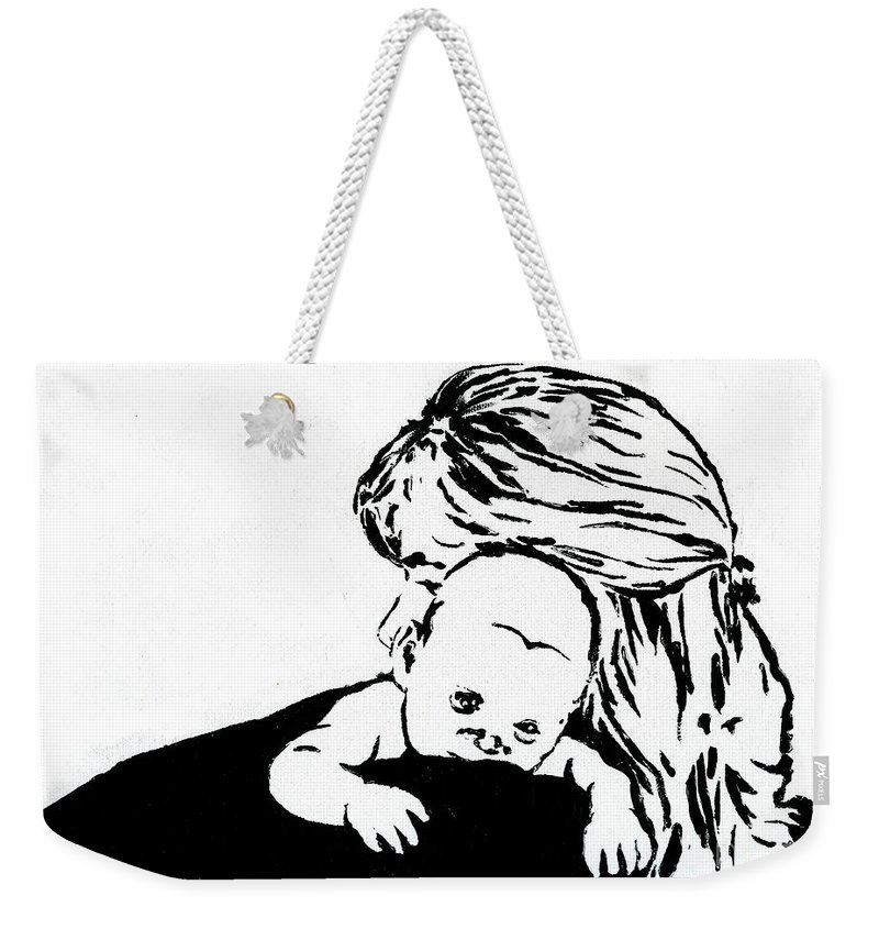 Mom Weekender Tote Bag featuring the painting Aunt Jo And Cheychey by Tamir Barkan