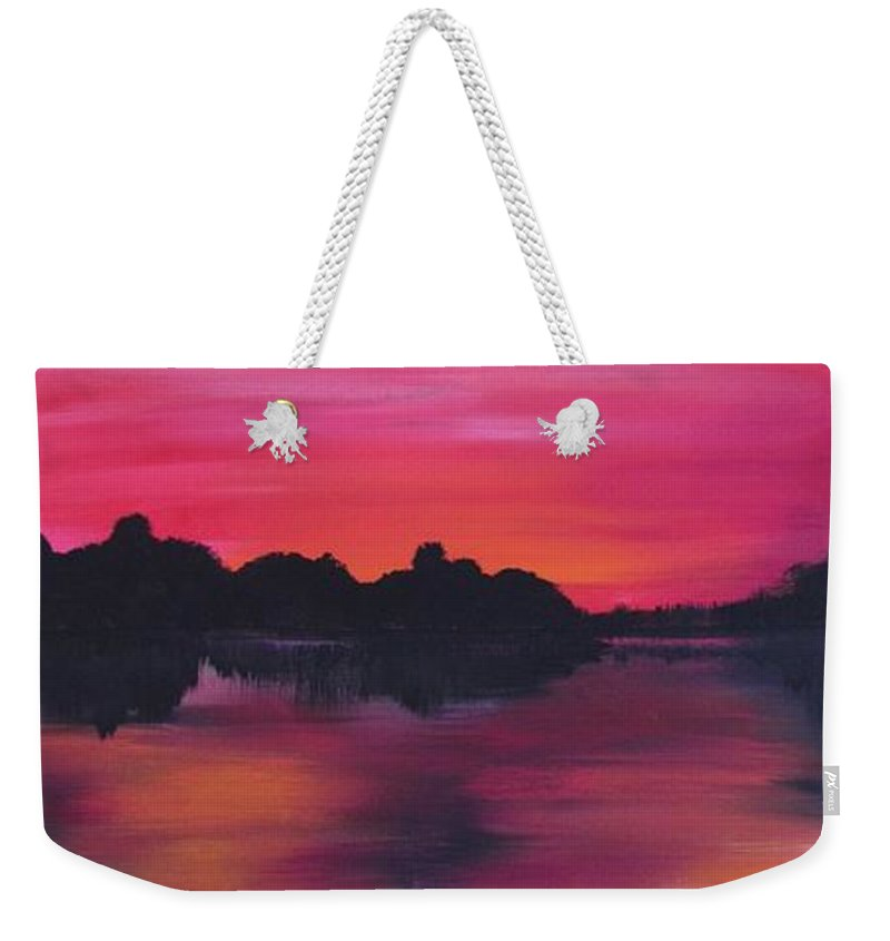 The Northern Lights Weekender Tote Bag featuring the painting Aurora Borealis Left by Mandy Joy