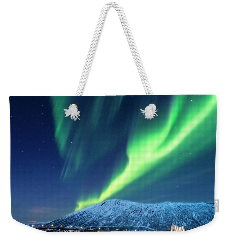 Scenics Weekender Tote Bag featuring the photograph Aurora Borealis Over Tromso Port by Mike Hill