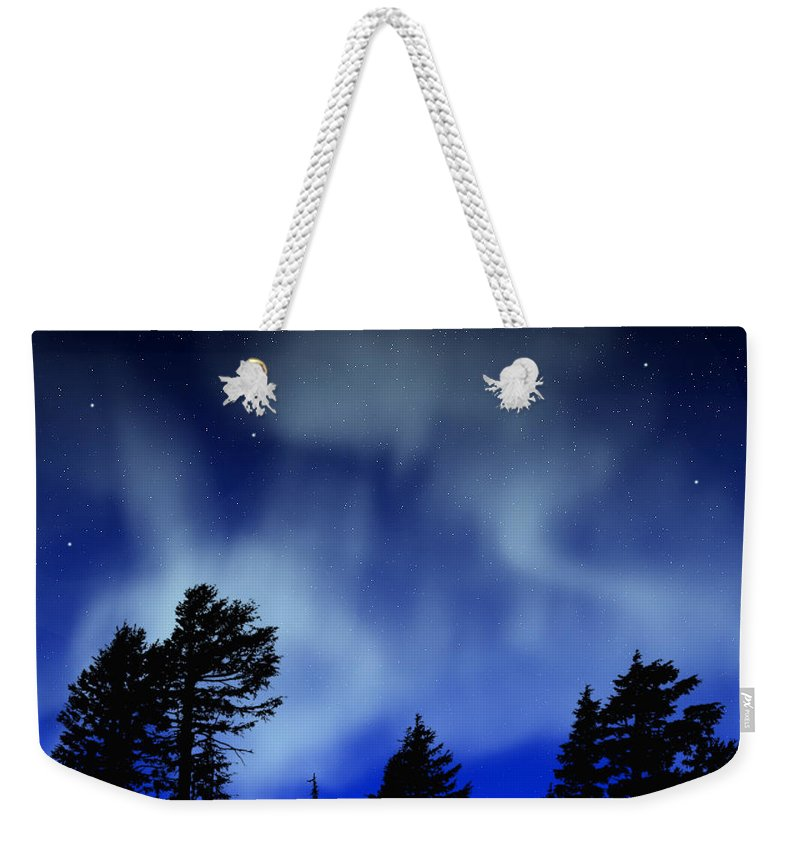 Aurora Borealis Mural Weekender Tote Bag featuring the painting Aurora Borealis Wall Mural by Frank Wilson