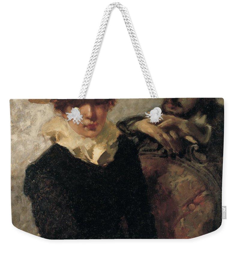 Female Weekender Tote Bag featuring the painting Aurora by Gaetano Previati