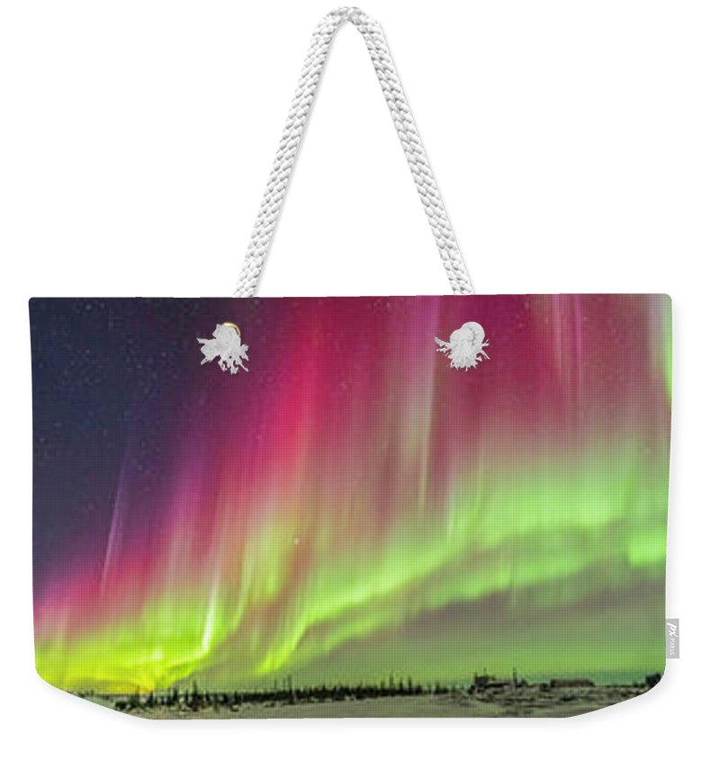 360� Weekender Tote Bag featuring the photograph Aurora Panorama Over Northern Studies by Alan Dyer