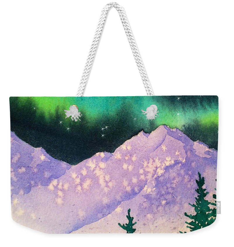 Aurora Winter Weekender Tote Bag featuring the painting Aurora Winter In Square by Teresa Ascone