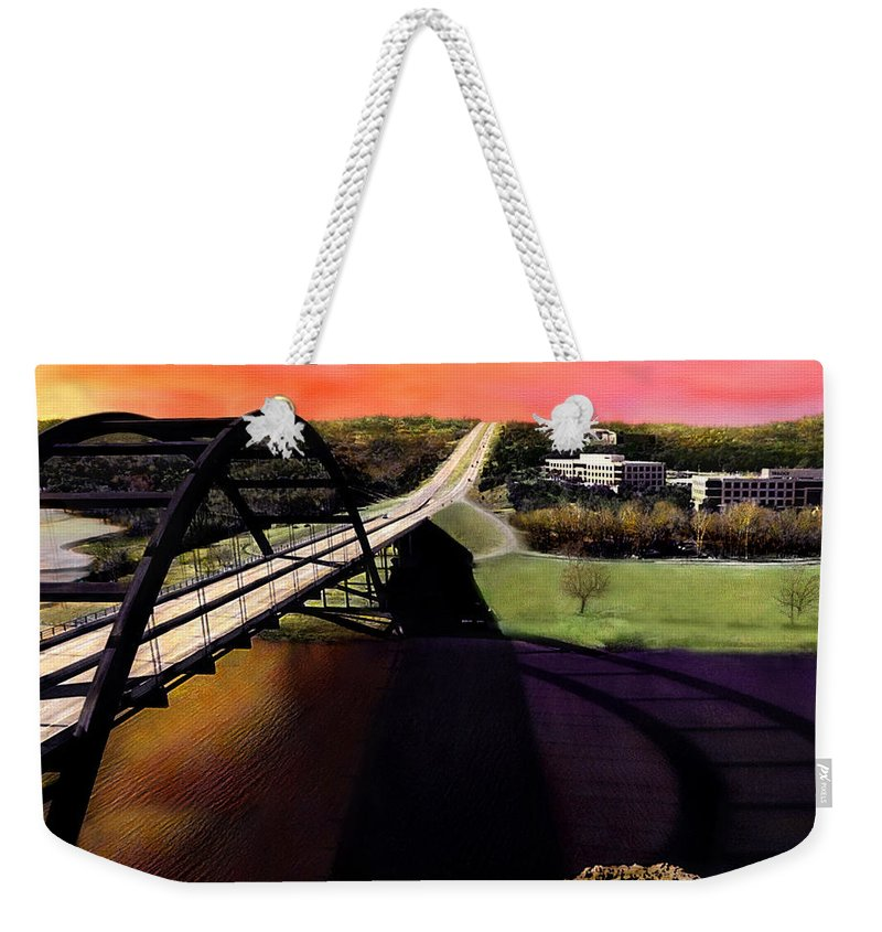 Austin Weekender Tote Bag featuring the photograph Austin 360 Bridge by Marilyn Hunt
