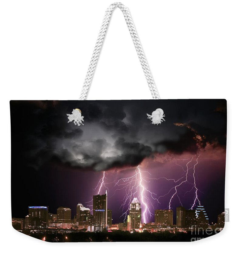 Lightning Weekender Tote Bag featuring the photograph Austin Light Show by Randy Smith