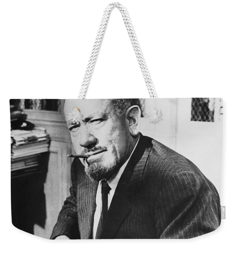 1035-1069 Weekender Tote Bag featuring the photograph Author John Steinbeck by Underwood Archives