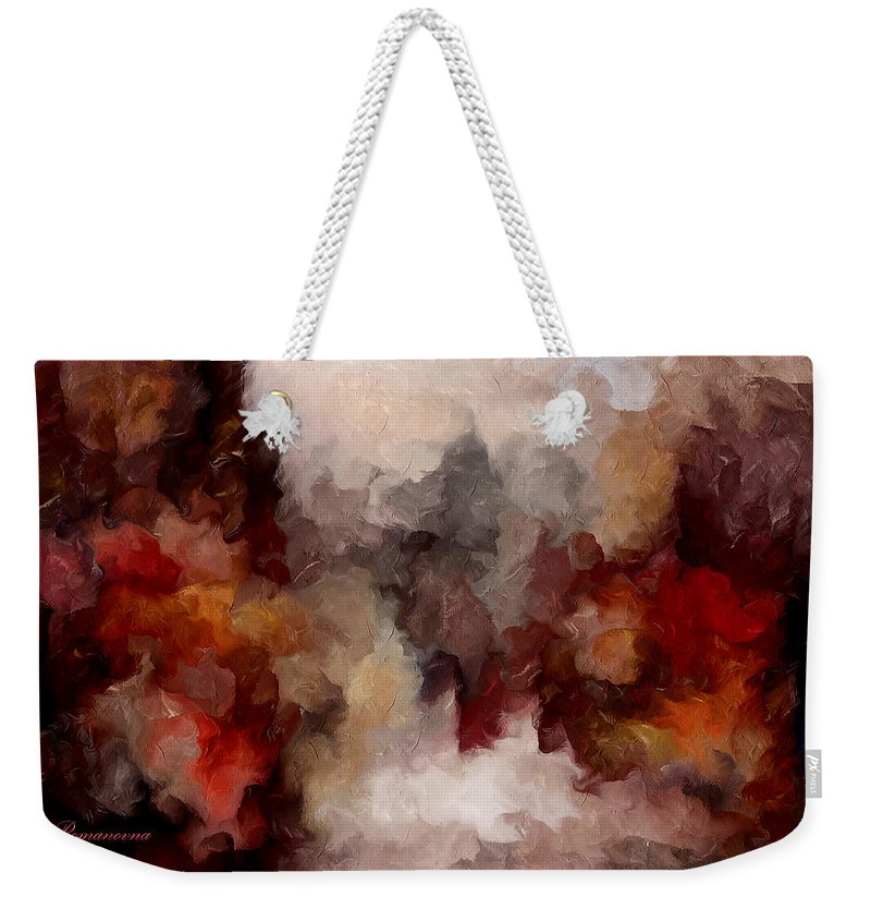 Abstract Weekender Tote Bag featuring the mixed media Autumn Abstract by Georgiana Romanovna