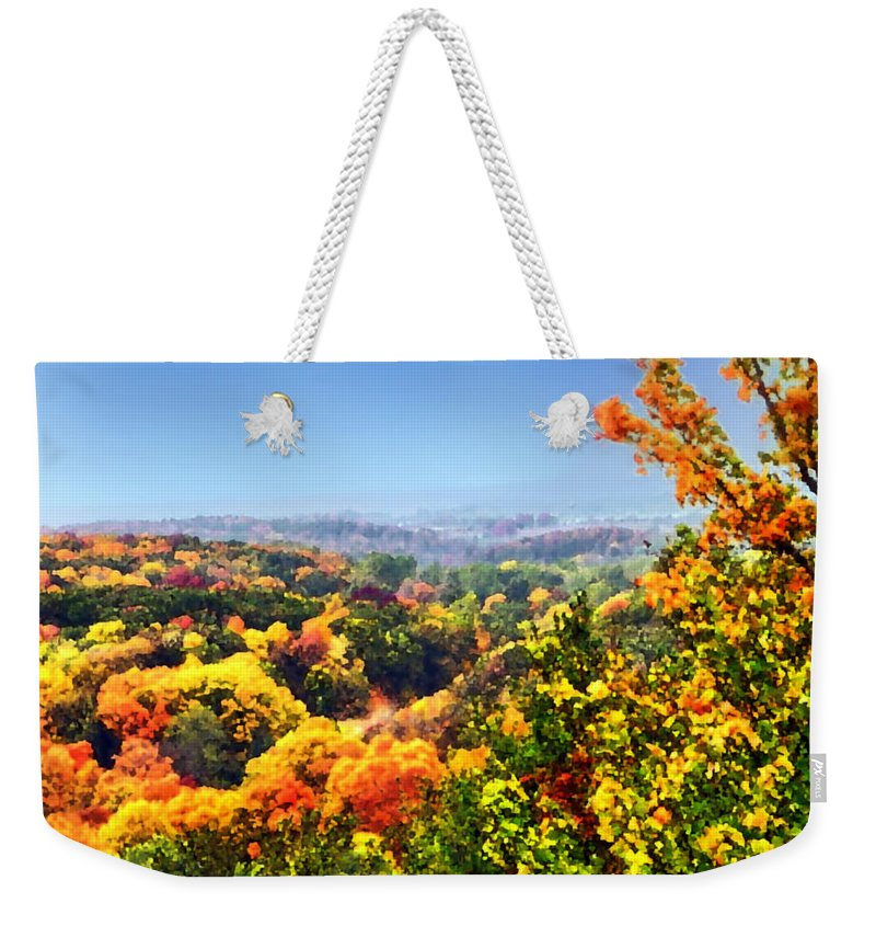 Autumn Weekender Tote Bag featuring the photograph Autumn Across The Hills by Thomas Woolworth