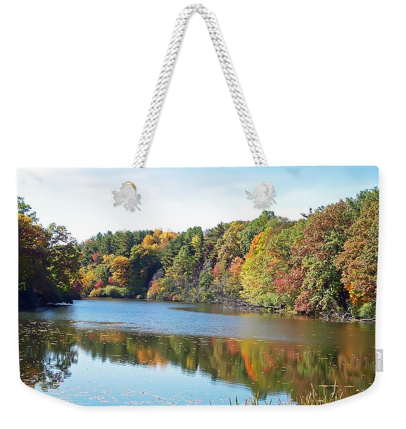 Durand Eastman Park Weekender Tote Bag featuring the photograph Autumn At Durand by Aimee L Maher ALM GALLERY