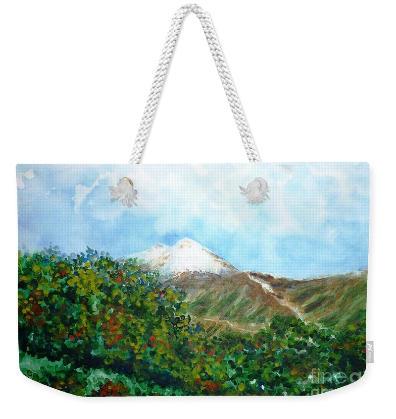 Autumn Weekender Tote Bag featuring the painting Autumn At The Foot Of Mount Elbrus by Zaira Dzhaubaeva