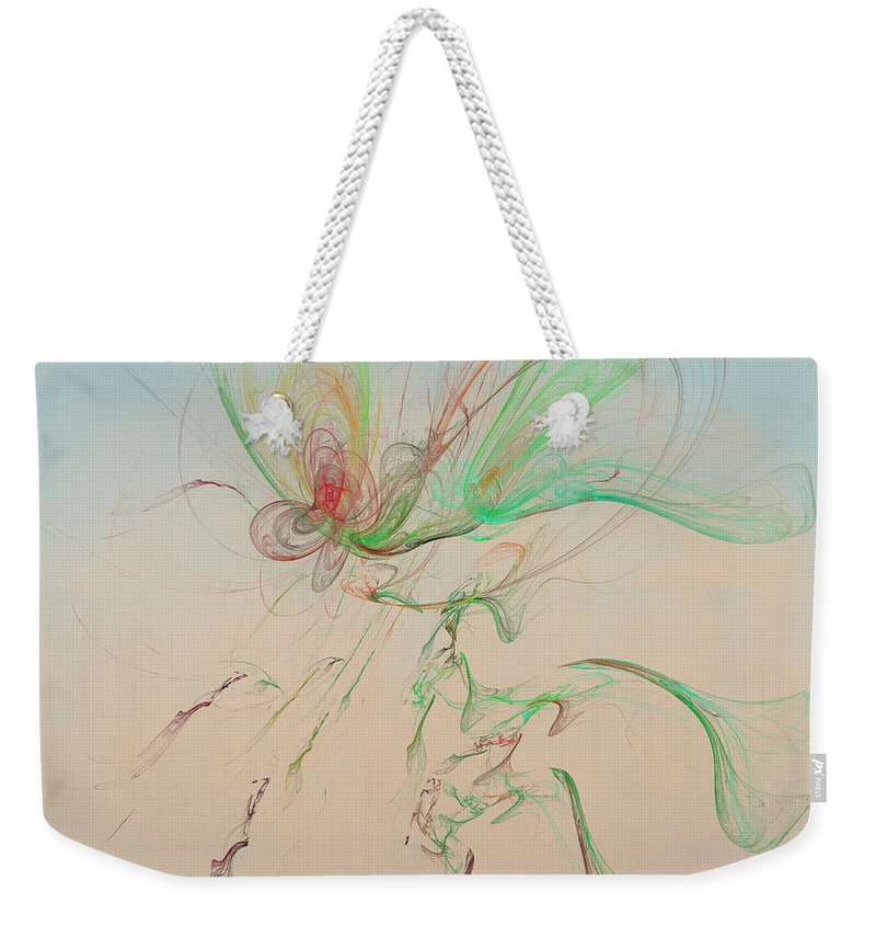 Autumn Butterfly Abstract Weekender Tote Bag featuring the digital art Autumn Butterfly Abstract by Angela Stanton