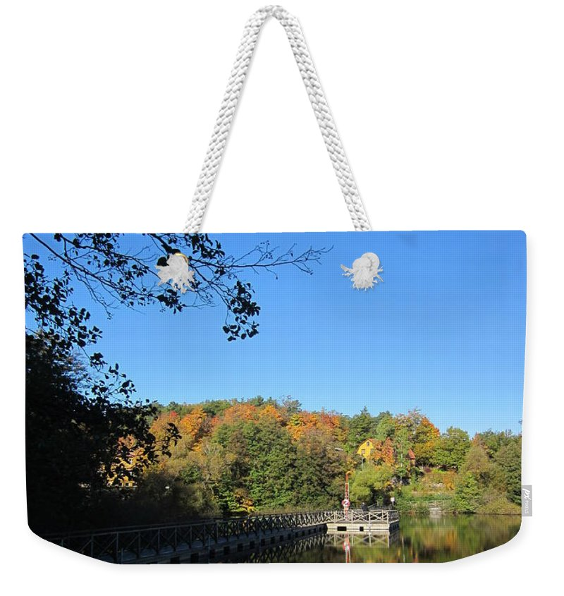 Nobody Weekender Tote Bag featuring the photograph Autumn By The Lake 1 by Rosita Larsson
