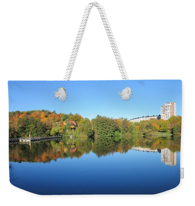 Nobody Weekender Tote Bag featuring the photograph Autumn By The Lake 3 by Rosita Larsson