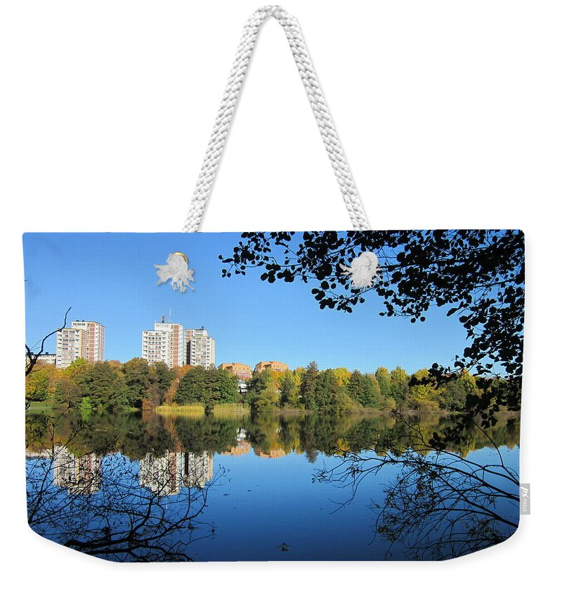 Outdoor Weekender Tote Bag featuring the photograph Autumn By The Lake 6 by Rosita Larsson