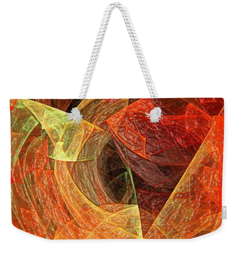 Abstract Weekender Tote Bag featuring the digital art Autumn Chaos by Andee Design