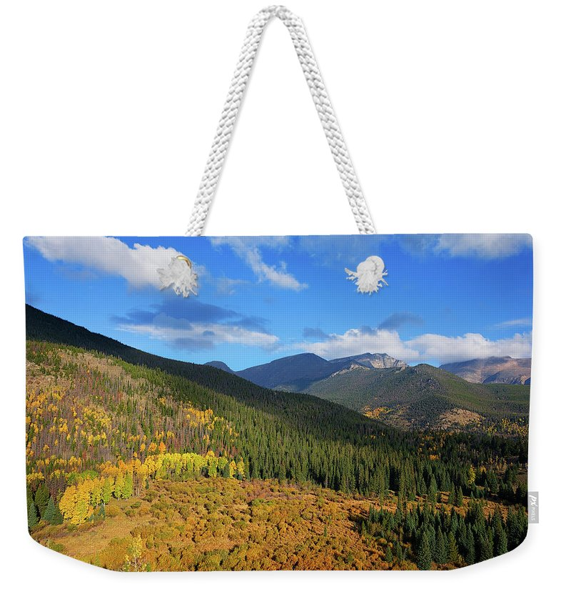 Scenics Weekender Tote Bag featuring the photograph Autumn Color In Colorado Rockies by A L Christensen