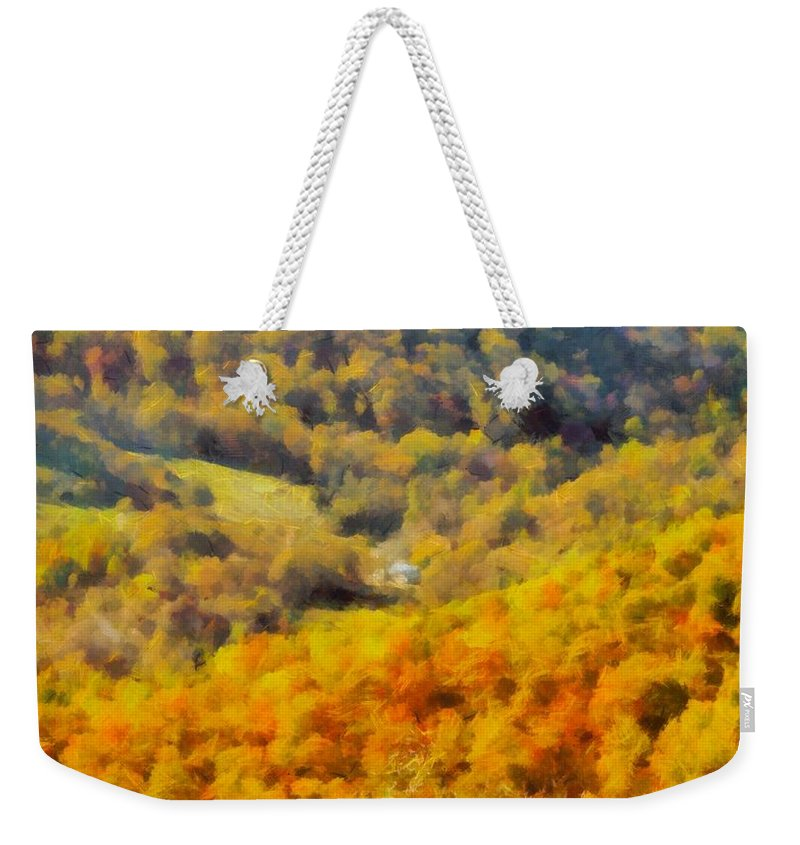 Shenandoah Valley In Autumn Weekender Tote Bag featuring the painting Autumn Colors In Shenandoah by Dan Sproul