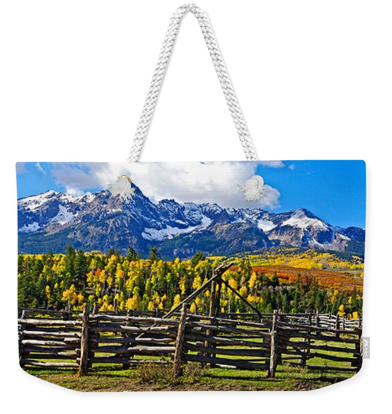 Colorado Photographs Weekender Tote Bag featuring the photograph Autumn Corral by Gary Benson