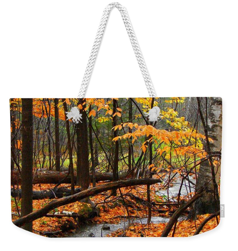 Autumn Weekender Tote Bag featuring the photograph Autumn Creek In The Rain by Rodney Lee Williams