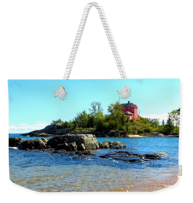 Autumn Weekender Tote Bag featuring the photograph Rocky Shore by Jaunine Roberts