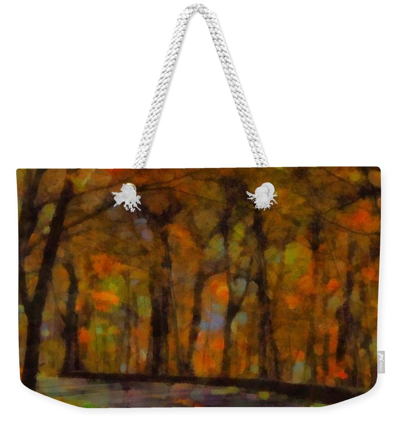 A Beautiful Autumn Drive Weekender Tote Bag featuring the painting Autumn Drive Freedom And Beauty by Dan Sproul