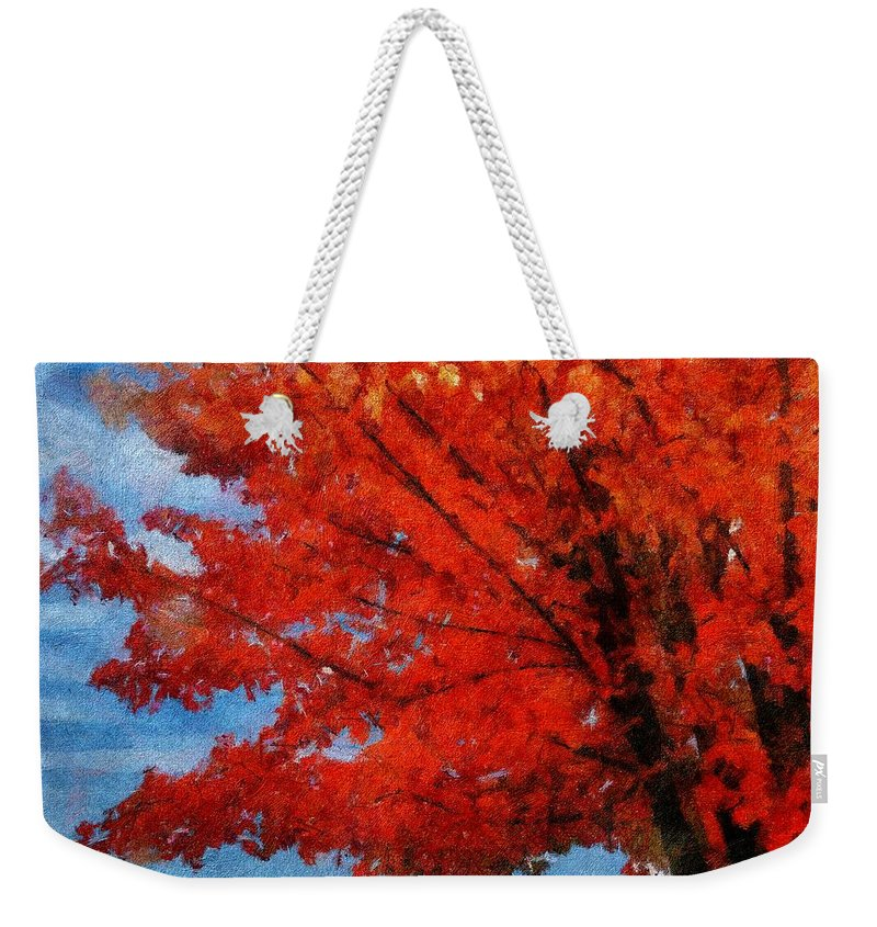 Autumn Weekender Tote Bag featuring the painting Autumn Fire by Jeffrey Kolker