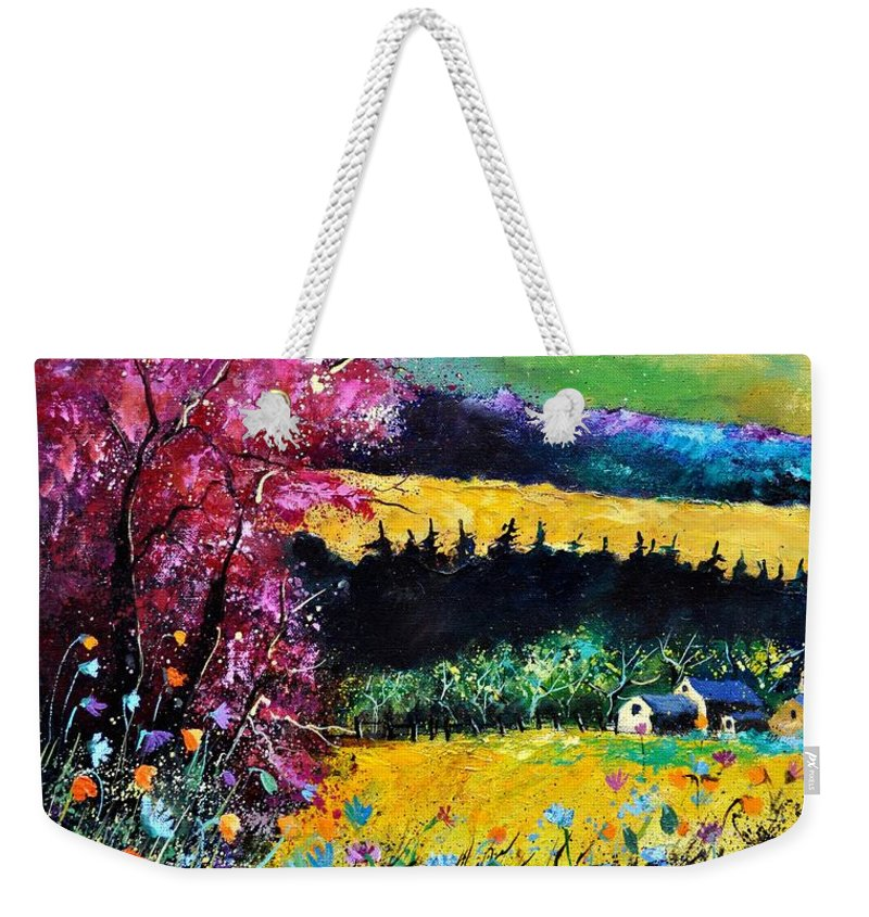 Landscape Weekender Tote Bag featuring the painting Autumn Flowers by Pol Ledent