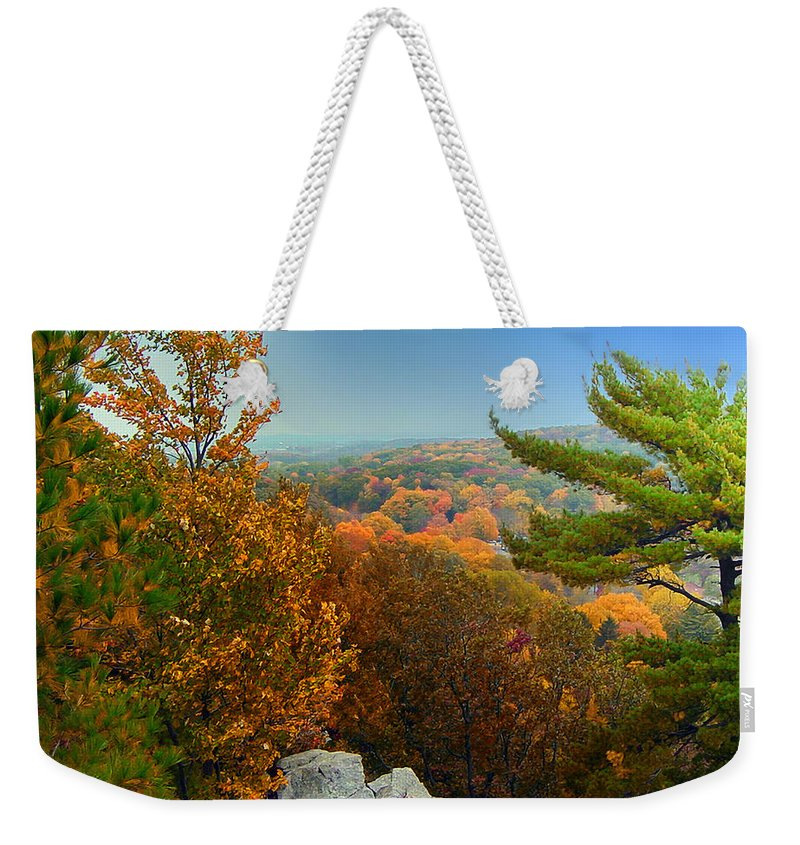 Autumn Weekender Tote Bag featuring the photograph Autumn In The Valley by Thomas Woolworth