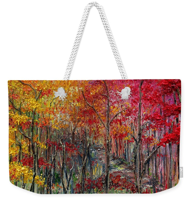 Autumn Weekender Tote Bag featuring the painting Autumn In The Woods by Karin Dawn Kelshall- Best