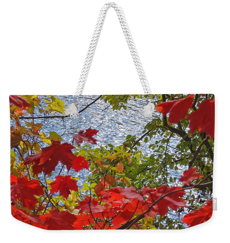 Autumn Weekender Tote Bag featuring the photograph Autumn Lake by Ann Horn