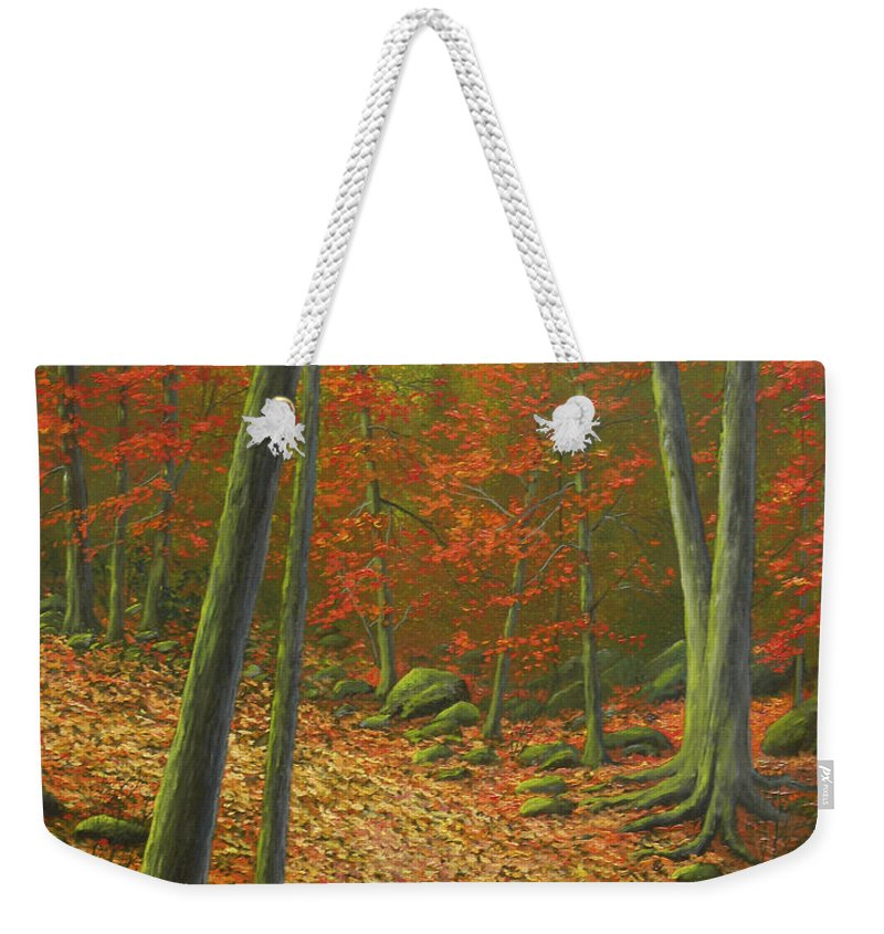 Autumn Leaf Litter Weekender Tote Bag featuring the painting Autumn Leaf Litter by Frank Wilson