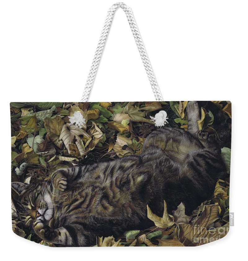 Cat Weekender Tote Bag featuring the pastel Autumn Leaves by Karie-Ann Cooper