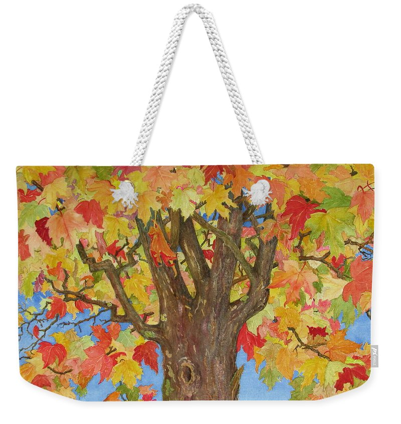 Leaves Weekender Tote Bag featuring the painting Autumn Leaves 1 by Mary Ellen Mueller Legault