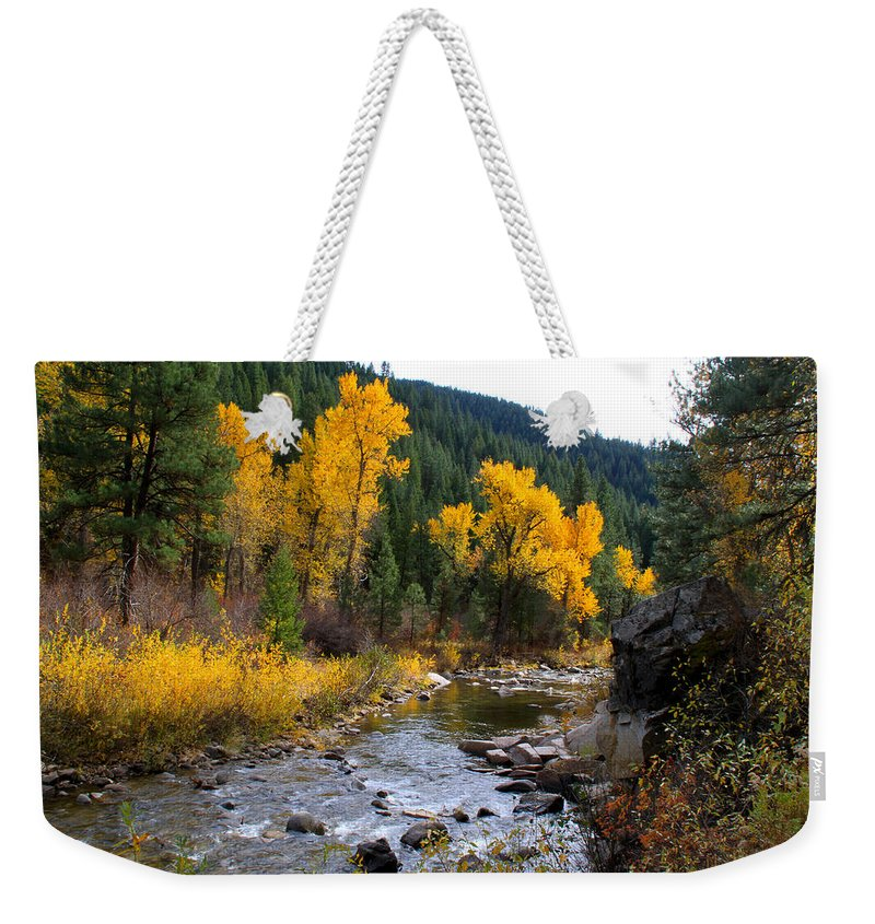Idaho Weekender Tote Bag featuring the photograph Autumn Leaves Of Red And Gold by Ed Riche